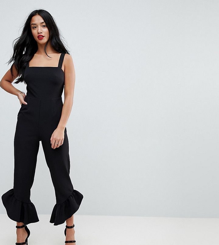 Asos Jumpsuit with Square Neck and Frill Hem