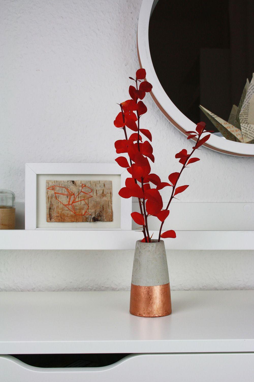 Diy Konische Beton Vase Mit Kupfer Selber Machen Bastelquatsch