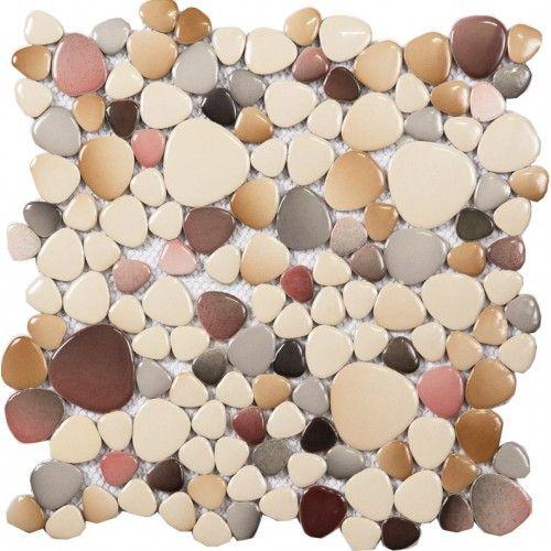 cheap porcelain floor mosaic pebble tile glazed wall tiles design for bathroom and kitchen backsplash heart - Schwarzweimosaikfliese Backsplash