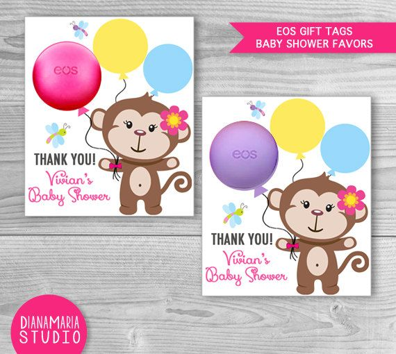 Baby Shower Gift Tags EOS Favors Monkey Girl By