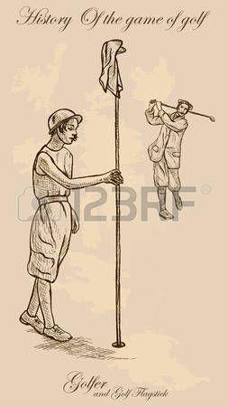 Los golfistas Vintage, un hombre que golpea una pelota de golf recta y una mujer que sostiene una bandera de golf. Dibujo a mano alzada, vector. Vector es f�cil editable por capas. Color de fondo es aislado. photo