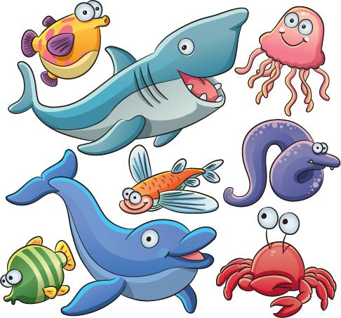 Animales marinos tipo cartoon 02 | Marino, Imagen vectorial y Animales