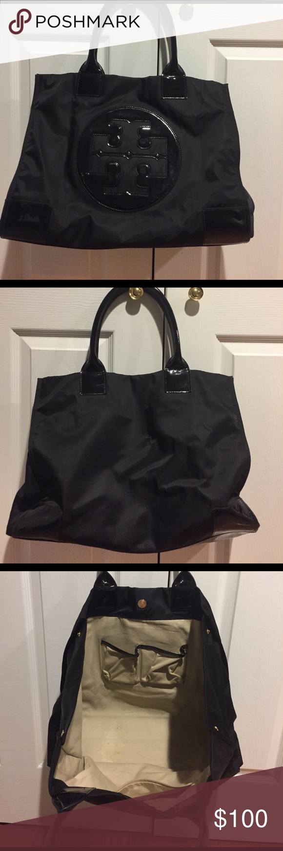 Tory Burch purse Black big Tory burch tote, great condition, a few small stains on the inside Tory Burch Bags Totes