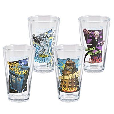 Drinking Glass Set of four 16 oz TARDIS, Cybermen, Silence, Dalek (DW logo on backs)