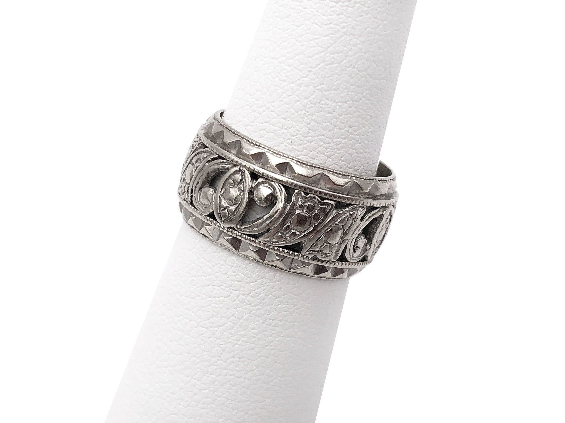 Sterling Silver Floral Wide Cigar Band Ring NEW Sizes 7 or 8 Continuous Pattern