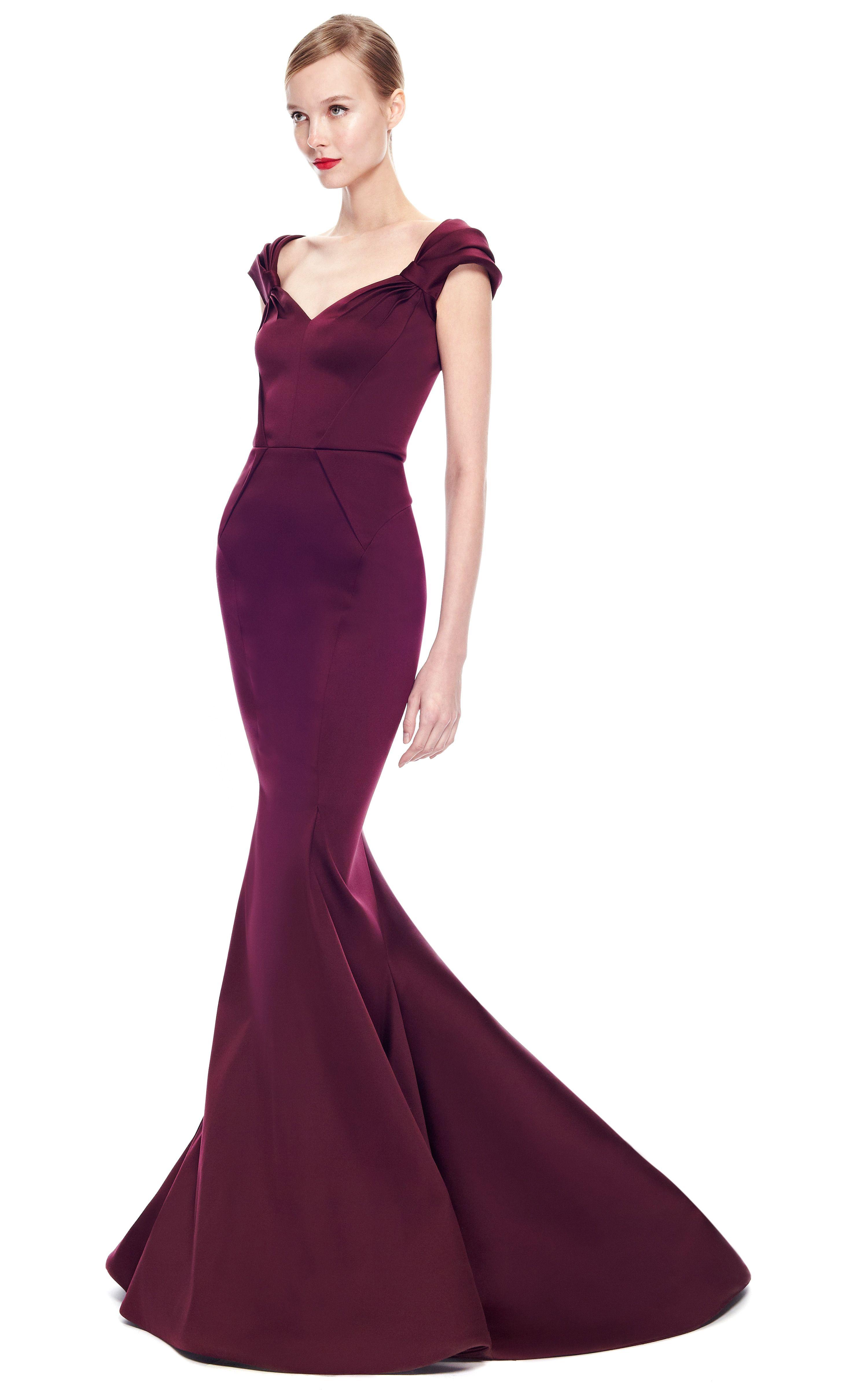 Womenus purple stretch duchess offtheshoulder gown fashion