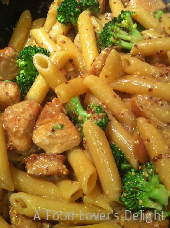Honey Mustard Chicken with Broccoli and Penne Pasta - A Food Lover's Delight