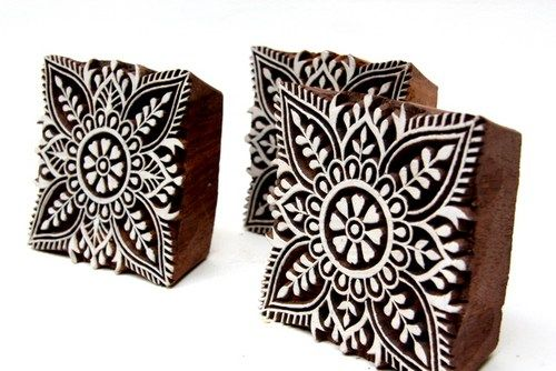 Wood Block Print Designs Textile Printing Square Shaped Wooden