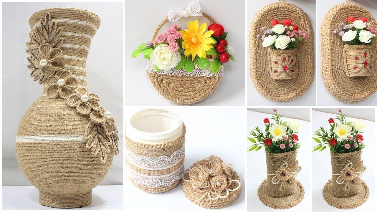 5 Jute Craft Ideas Home Decorating Ideas Handmade Youtube Jute Crafts Crafts Burlap Crafts