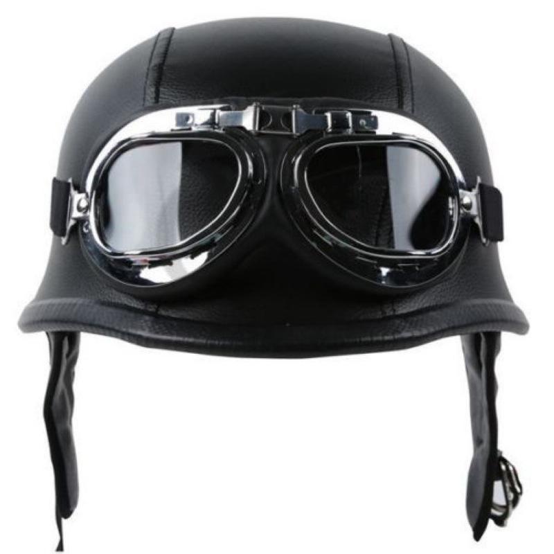 Aviator Retro Harley Motorcycle German Half Open Leather Helmet Dot Chopper QZ