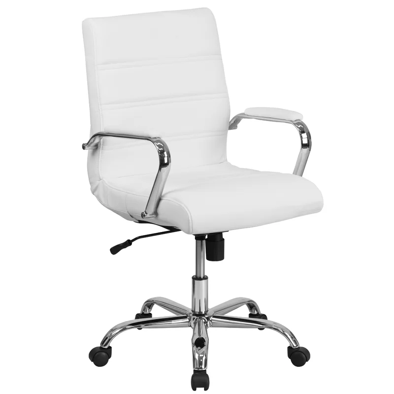Leaman Ergonomic Executive Chair In 2020 Swivel Office Chair White Leather Chair Desk Chair Comfy