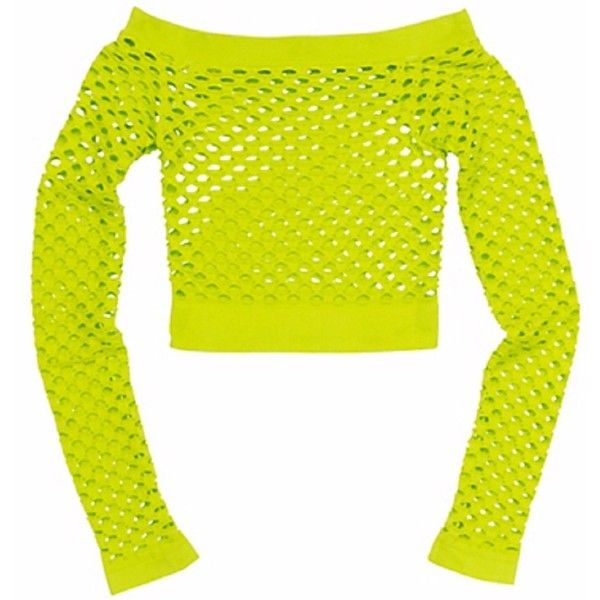 ce6143d3ba4 Neon Green Fishnet Top ( 22) ❤ liked on Polyvore featuring tops ...