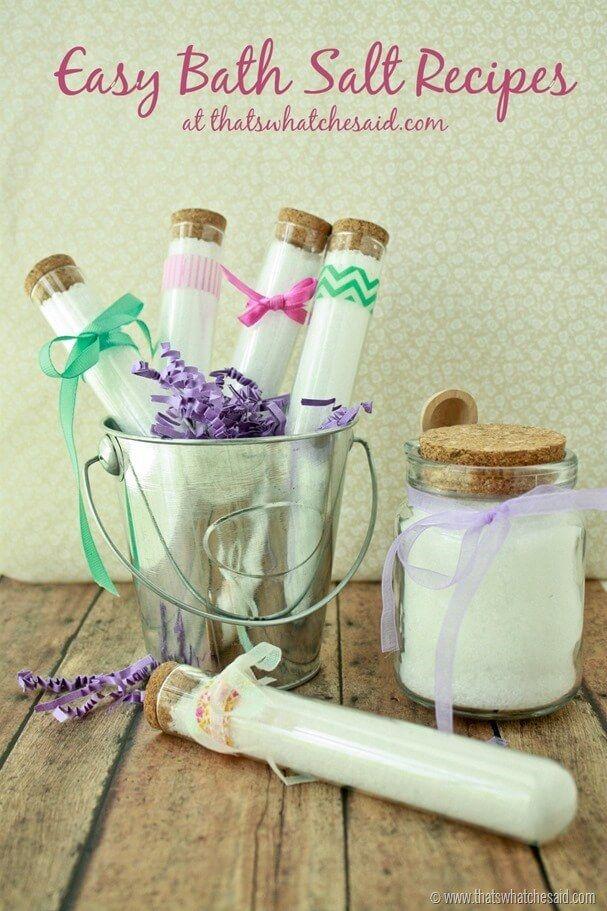 Easy Bath Salt Recipes at thatswhatchesaid.com
