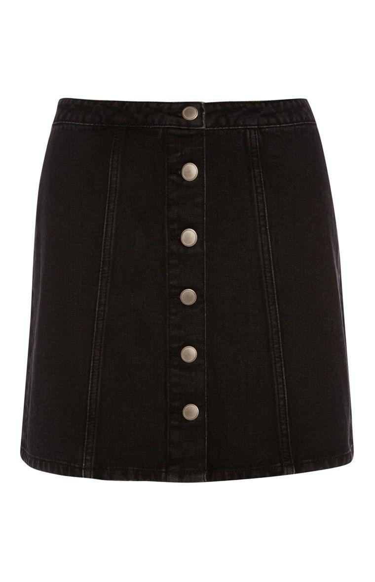 633a20082e Primark - Black Denim Button Skirt | outfits in 2019 | Black denim ...