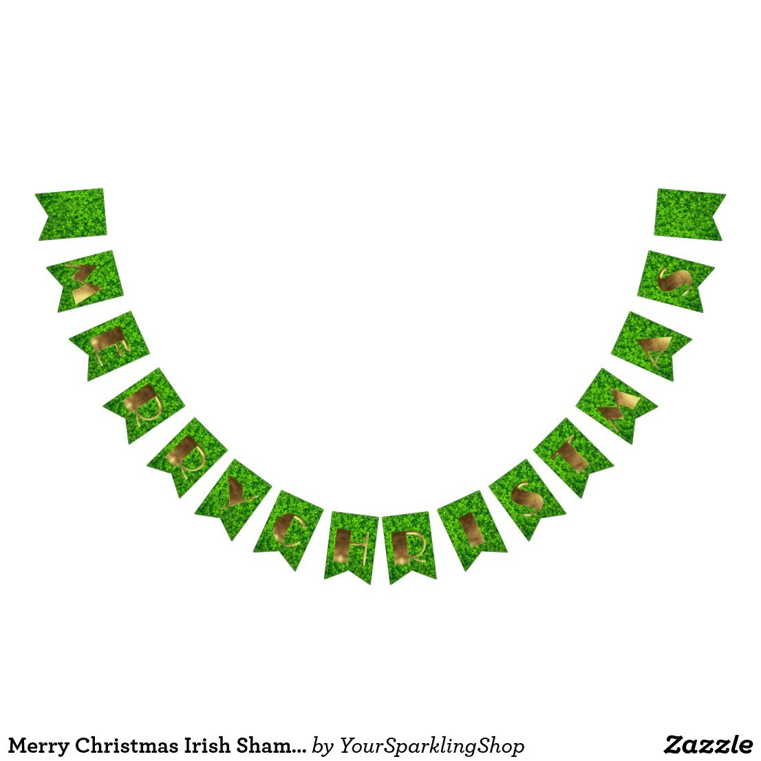 Merry Christmas Irish Shamrock Gold Typography #shamrock ...