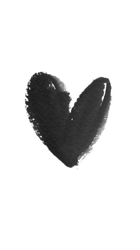White Black Watercolour Heart Iphone Wallpaper Phone Background