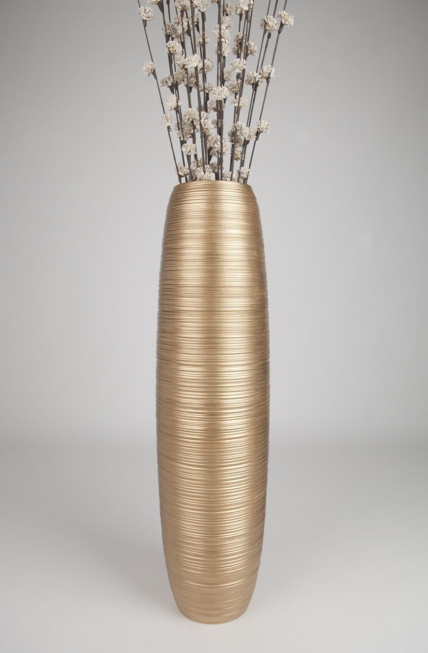 Gold tall floor vase 36 inches wood gold leewadee 139 for Floor vase ideas