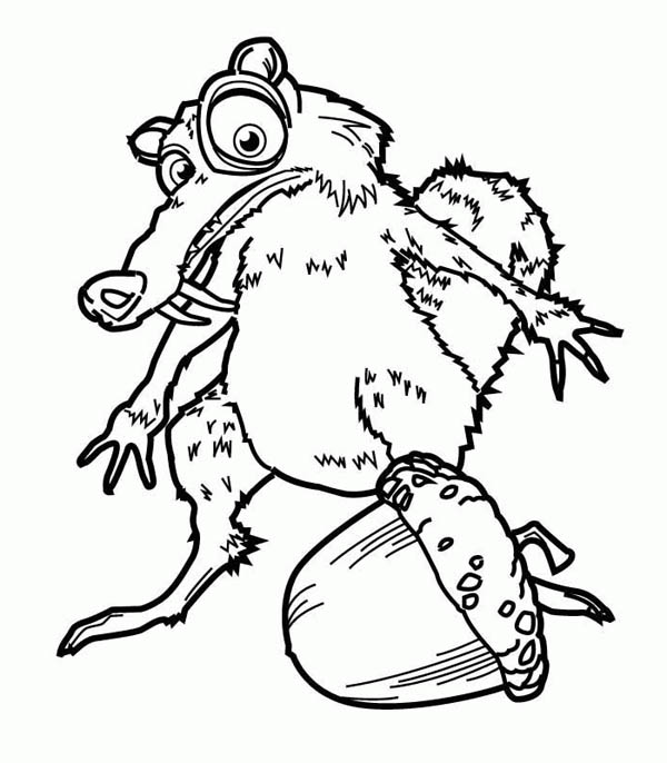 How To Draw Scrat And His Pine Fruit In Ice Age Coloring Pages Bulk Color In 2020 Coloring Pages Drawings Ice Age