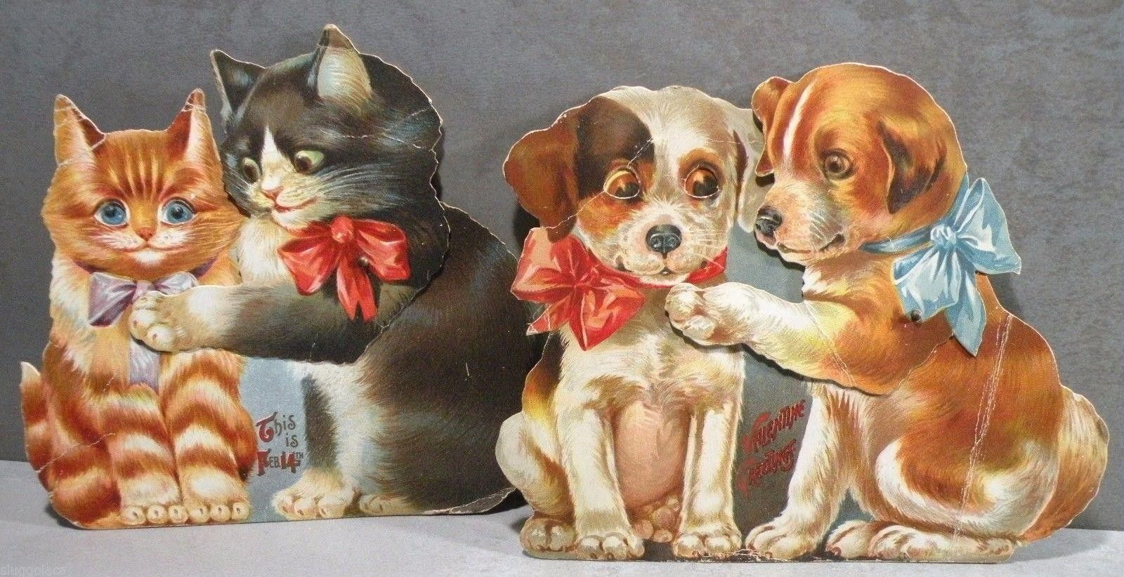 Pair Of Antique Articulated Puppies Kittens Valentine Greeting Cards C 1915 1798675433 Valentine Greeting Cards Vintage Postcards Puppies