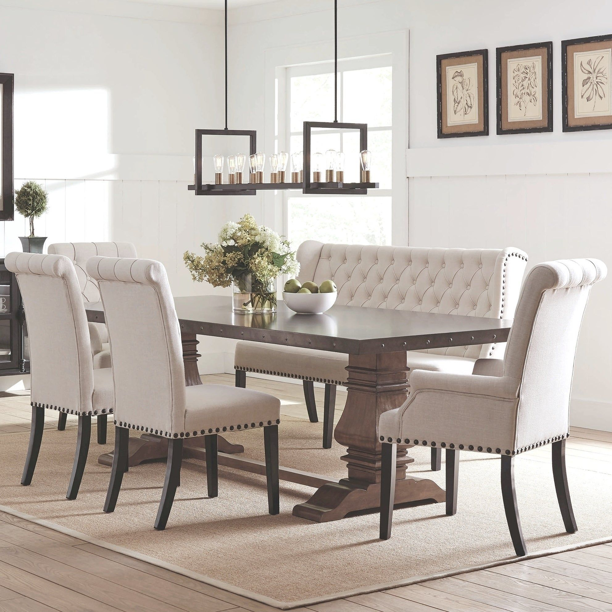 French Baroque Designe Dining Set With Rolled Button Tufted Chairs And Bench Black Dining Room Furniture Dining