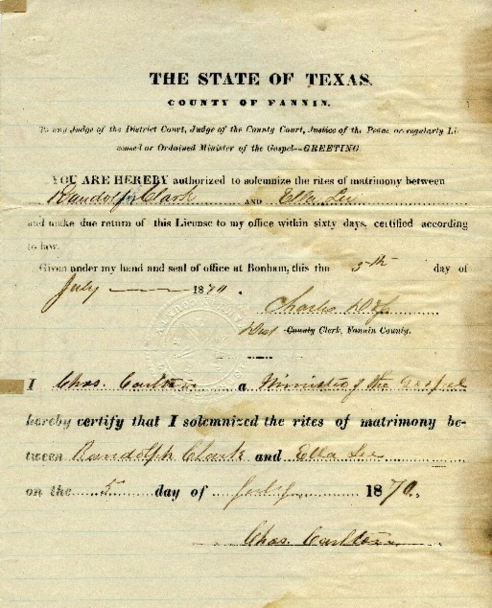Marriage License Between Randolph Clark Ella Lee July 5 1870 Texas County The Rite Marriage License