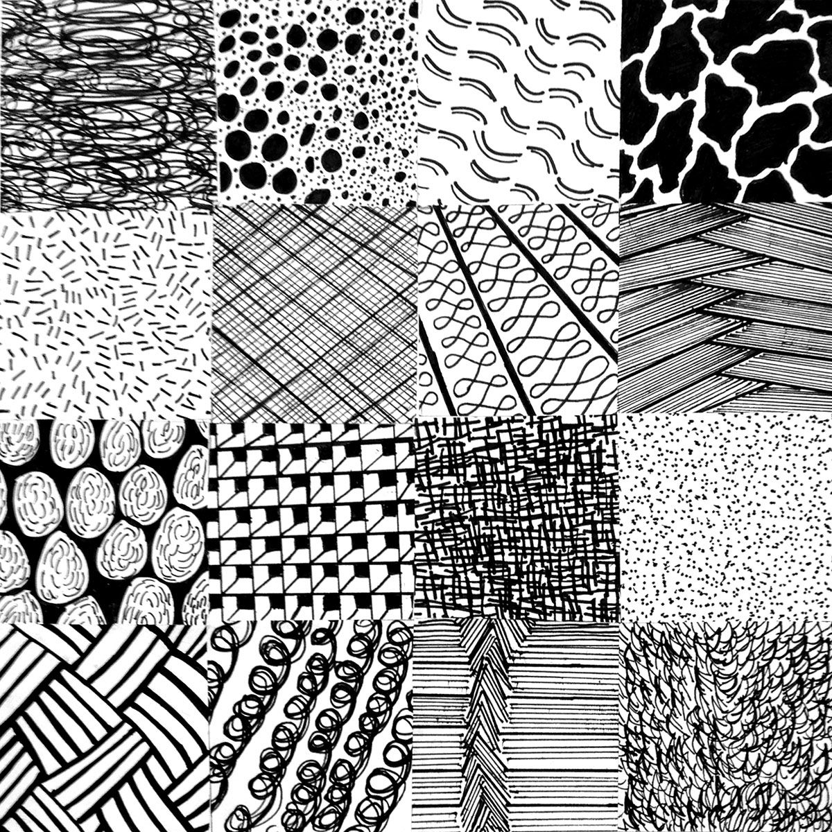 Studio Project 2 - Balance, Scale, Texture.   Objective: Create 16 different squares with various textures using balance and scale, as well as varying values from dark to light. Material used: Micron Pens in different sizes.