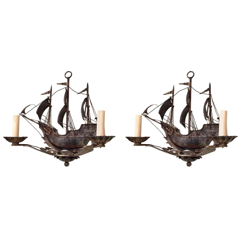 Pair of nantucket old world iron sailing ship chandeliers sailing pair of nantucket old world iron sailing ship chandeliers 1stdibs aloadofball Images