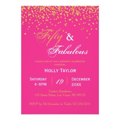Hot Pink And Black 50th Birthday Invitation Invitations Diy Customize Personalize Card Party Gift