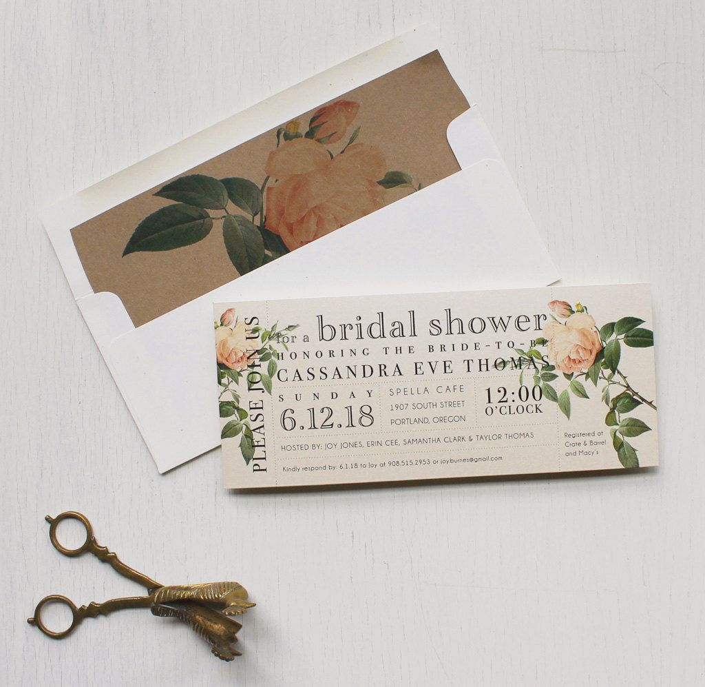 set the tone of your bridal shower with ivory and blush beacon lane customizable vintage floral style invitations specially made for your party