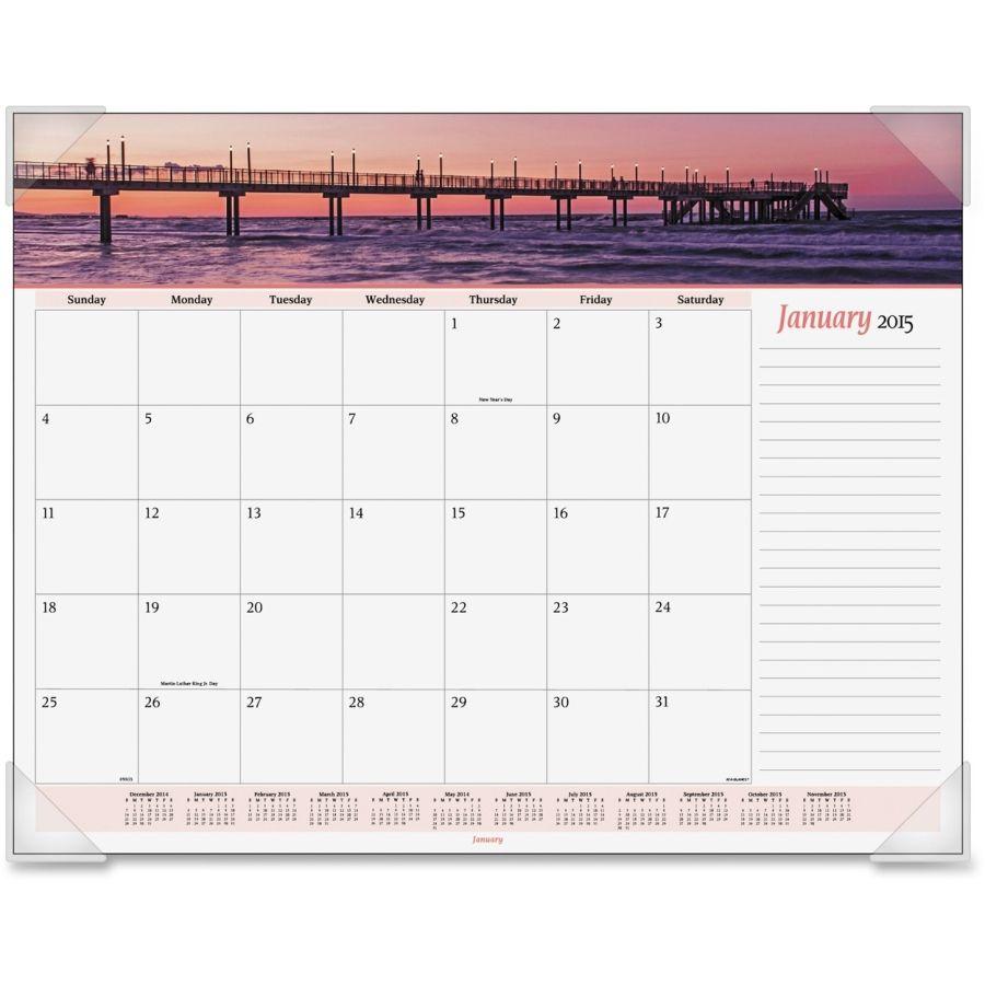 visual organizer panoramic seascape desk pad calendar aag89803