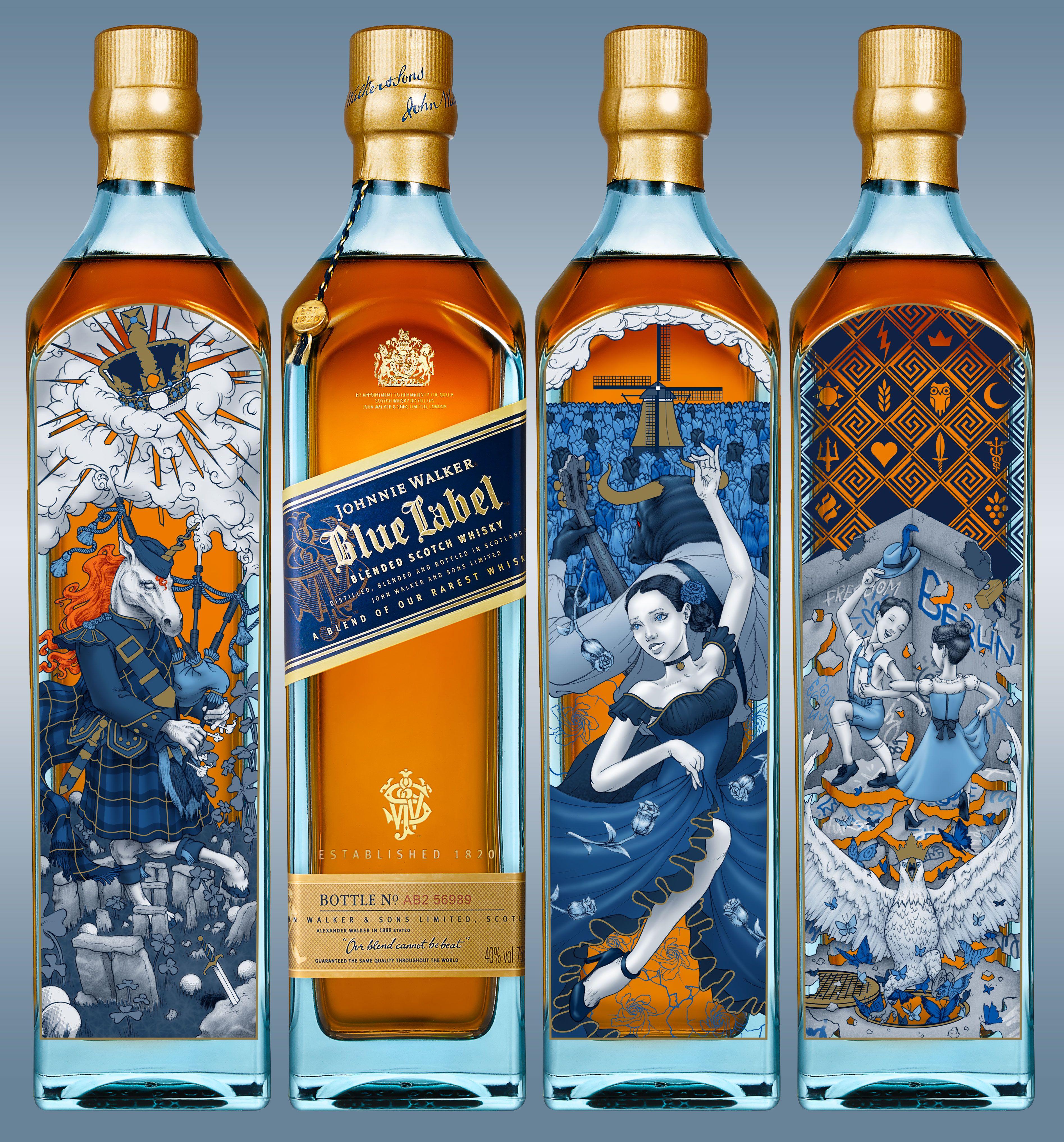 Johnnie Walker Blue Label Digital 2017 Bottle Illustration Mock Up Through A Talenthouse Competi Johnnie Walker Blue Johnnie Walker Johnny Walker Blue Label