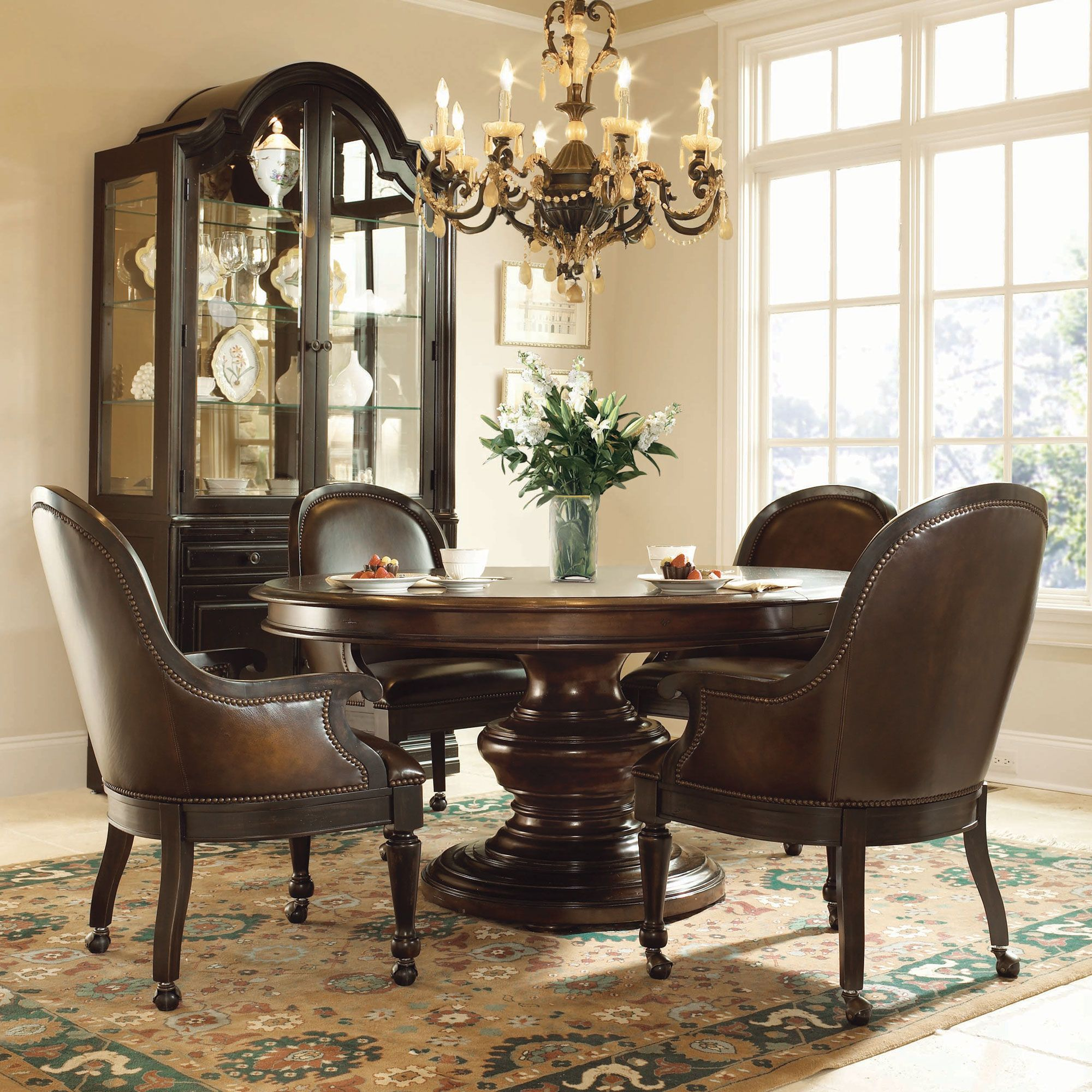 bernhardt normandie manor 5pc round dining room set with large casters game chairs in bark. Black Bedroom Furniture Sets. Home Design Ideas