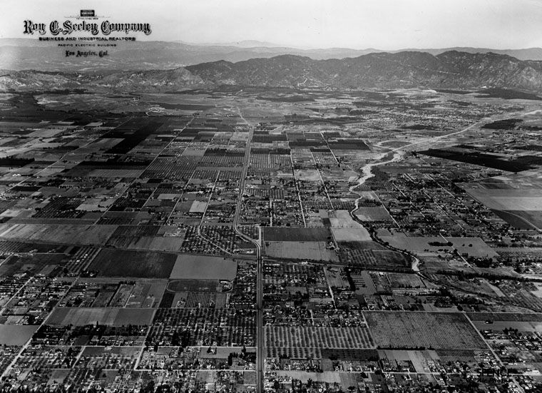 Aerial View Of The San Fernando Valley North On Sepulveda Blvd From Sherman Way 1 30 1946 San Fernando Valley