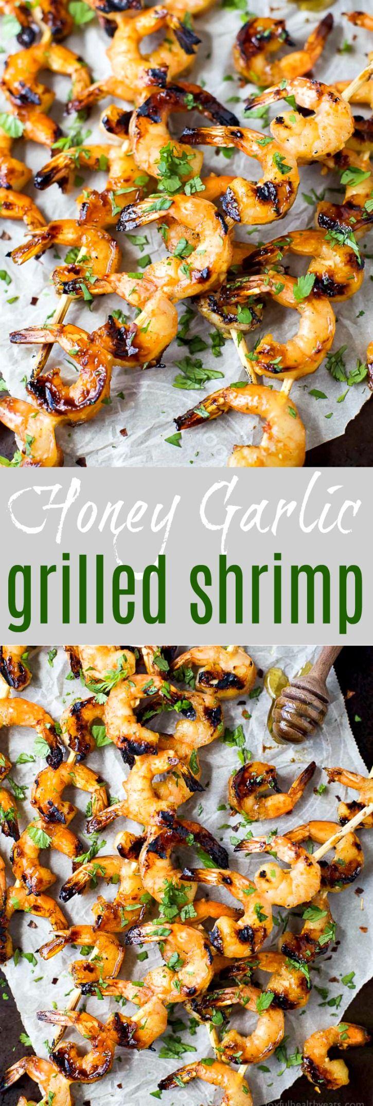 Honey Garlic Grilled Shrimp #grilledshrimp