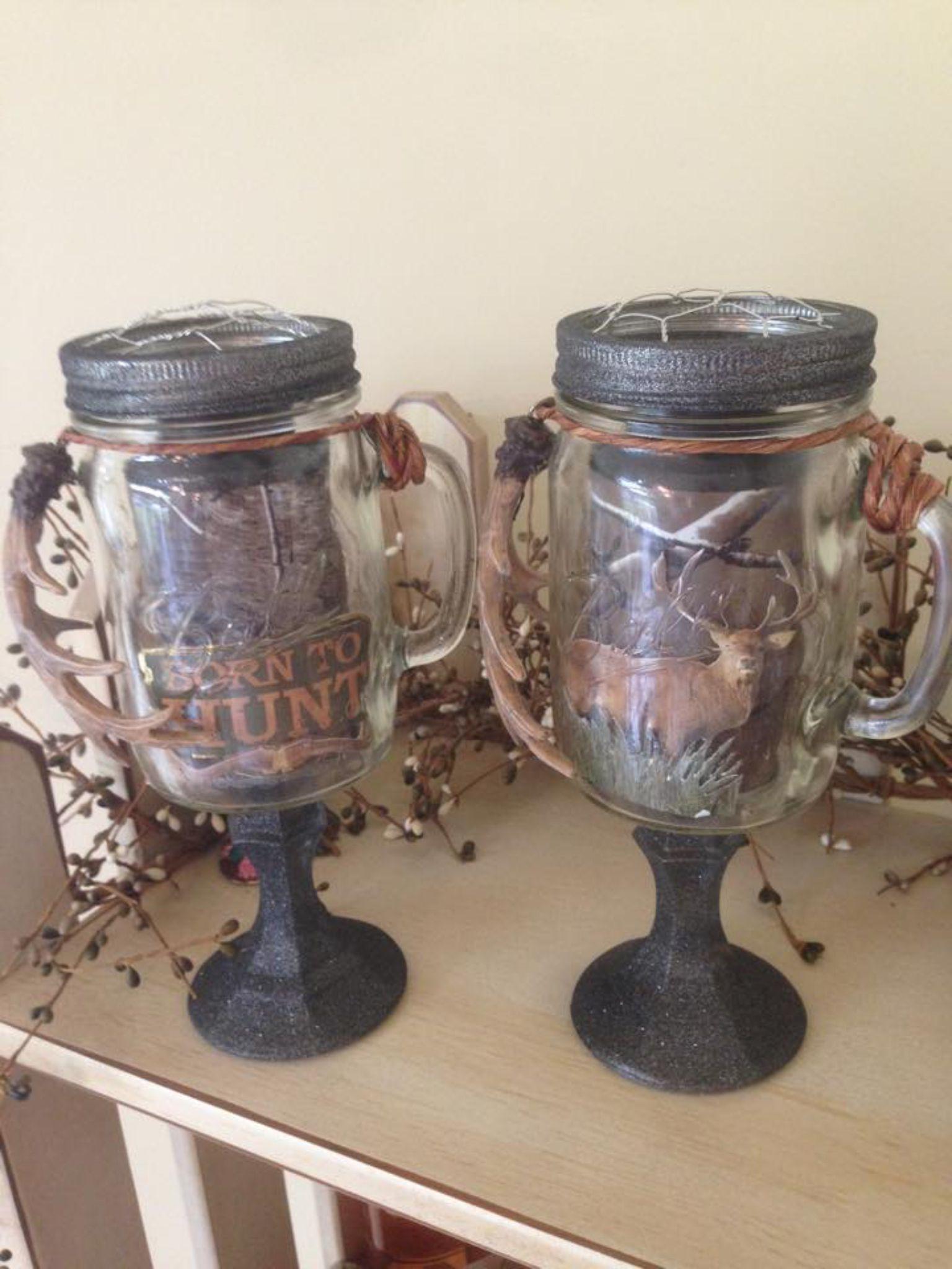 Hunting theme redneck mason jars  https://www.etsy.com/shop/BucksBarnWorks