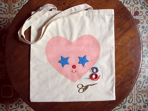 DIY Embroidery Kit. Tote bag Starter Needlecraft activity. Hand Embroidered and stamped Heart. Stitchery Kit Applique. Felt