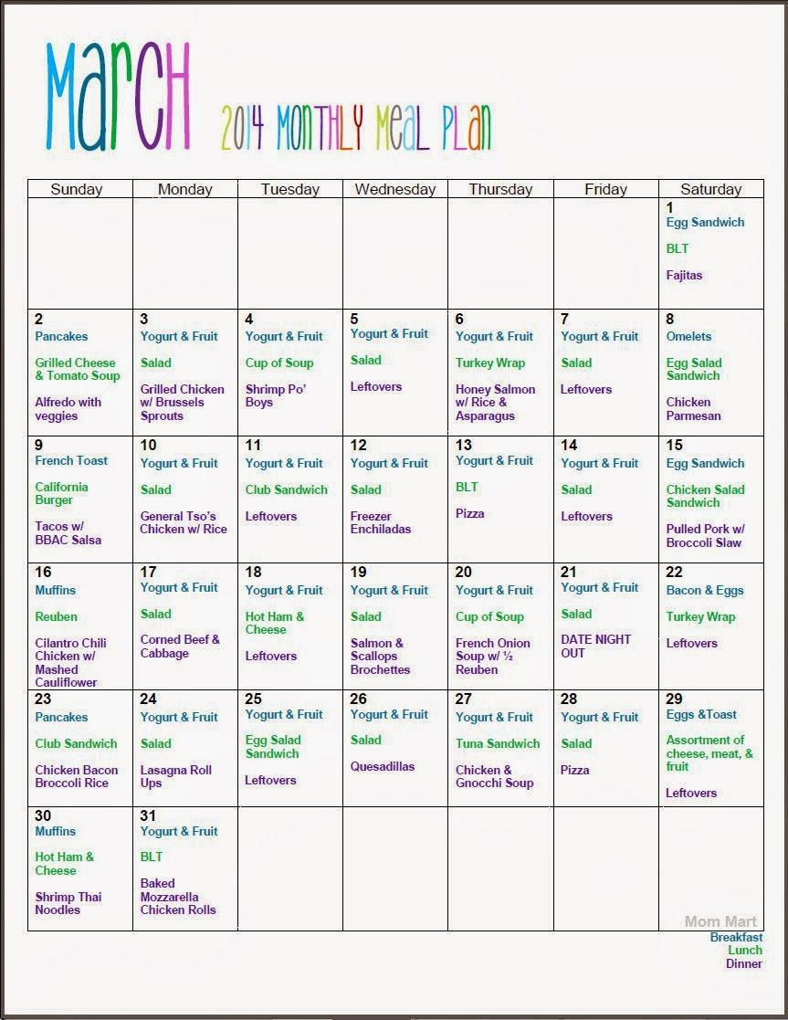 March Monthly Meal Planning FreePrintable (With images