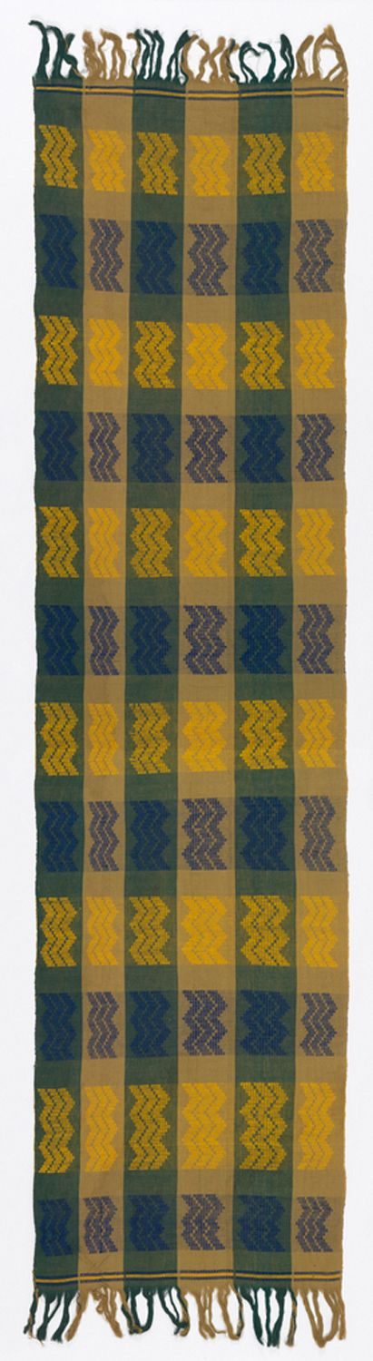 Africa | Panel (for a turban) from Nigeria | Cotton; warp face plain weave, patterned by warp stripes and extra-weft floats inserted in shed A only, bound by every 10th foundation warp | c. Prior to 1969