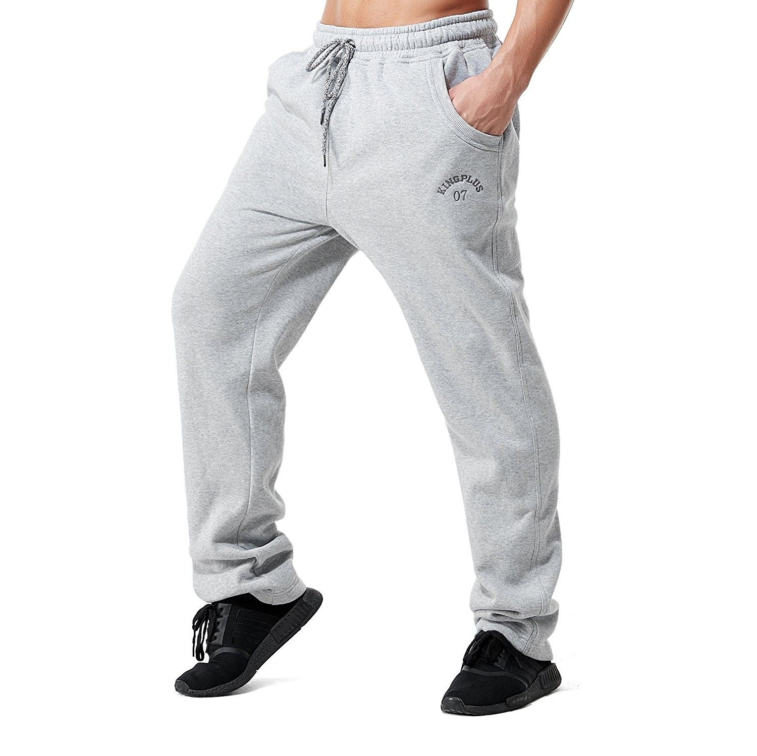 Kingplussports Mens Big And Tall Fleece Open Bottom Sweatpants Ligtgray Ck185gw2ltr Mens Big And Tall Mens Clothing Styles Mens Outfits