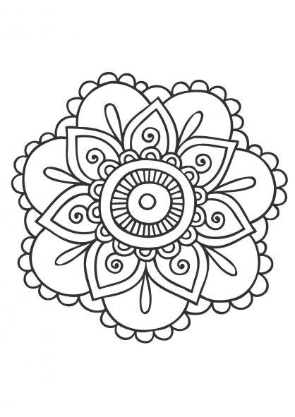 Coloriages mandala fleurs adultes armoire roulotte - Mandala fleur ...