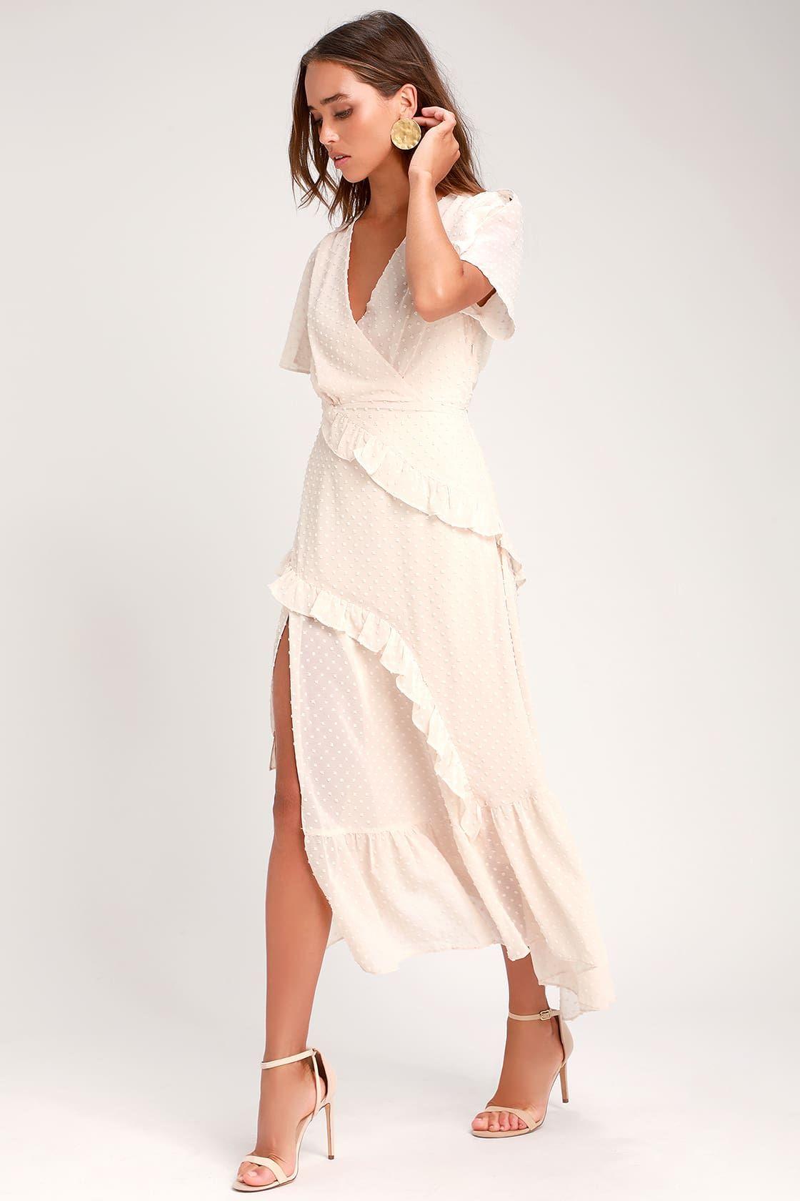 Next To You Cream Swiss Dot Ruffled Midi Dress Midi Ruffle Dress Cream Dress Outfit White Midi Dress [ 1680 x 1120 Pixel ]