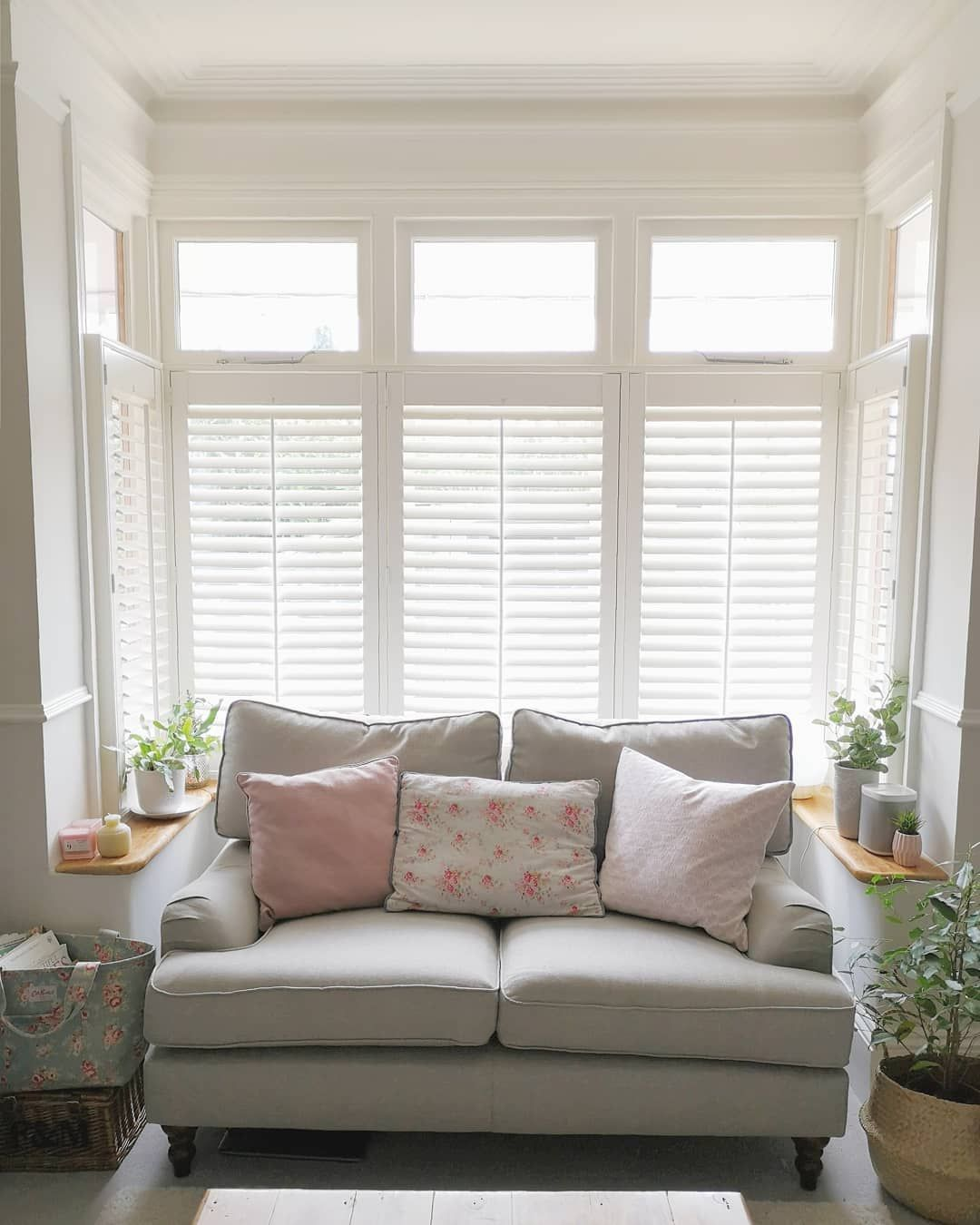 Large bay window with cafe style shutters in an Edwardian ...