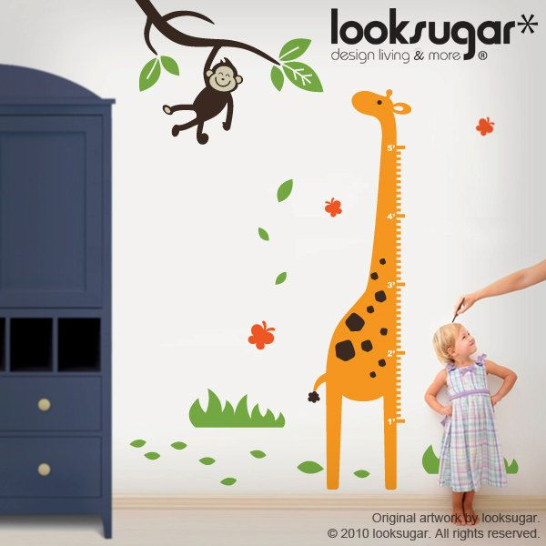 Monkey Wall Decal With Giraffe Growth Chart For Baby Nursery