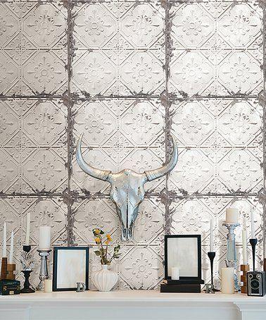 Loving This Vintage Tin Tile Peel Stick Wallpaper Decal On Zulily Zulilyfinds Vintage Tin Tiles Tin Tiles Peel And Stick Wallpaper