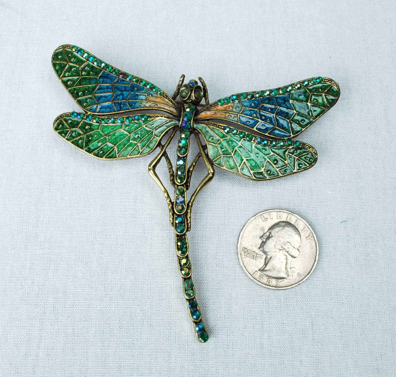 Vintage Dragonfly Brooch Pin Large Blue Green