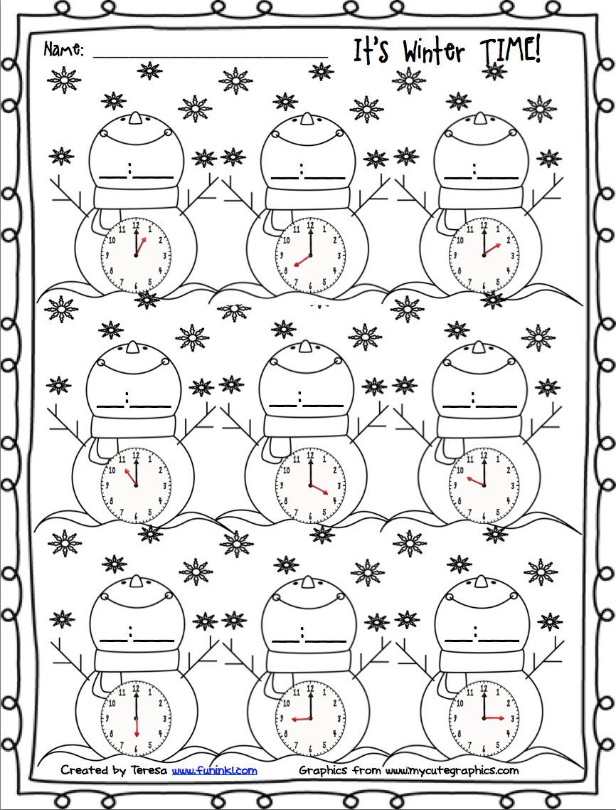 FREE winter printables for telling time. Winter math