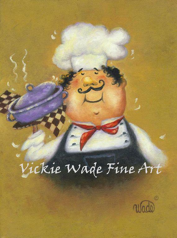 Fat Chefs Art Print, fat chef kitchen art, kitchen decor, chef ...
