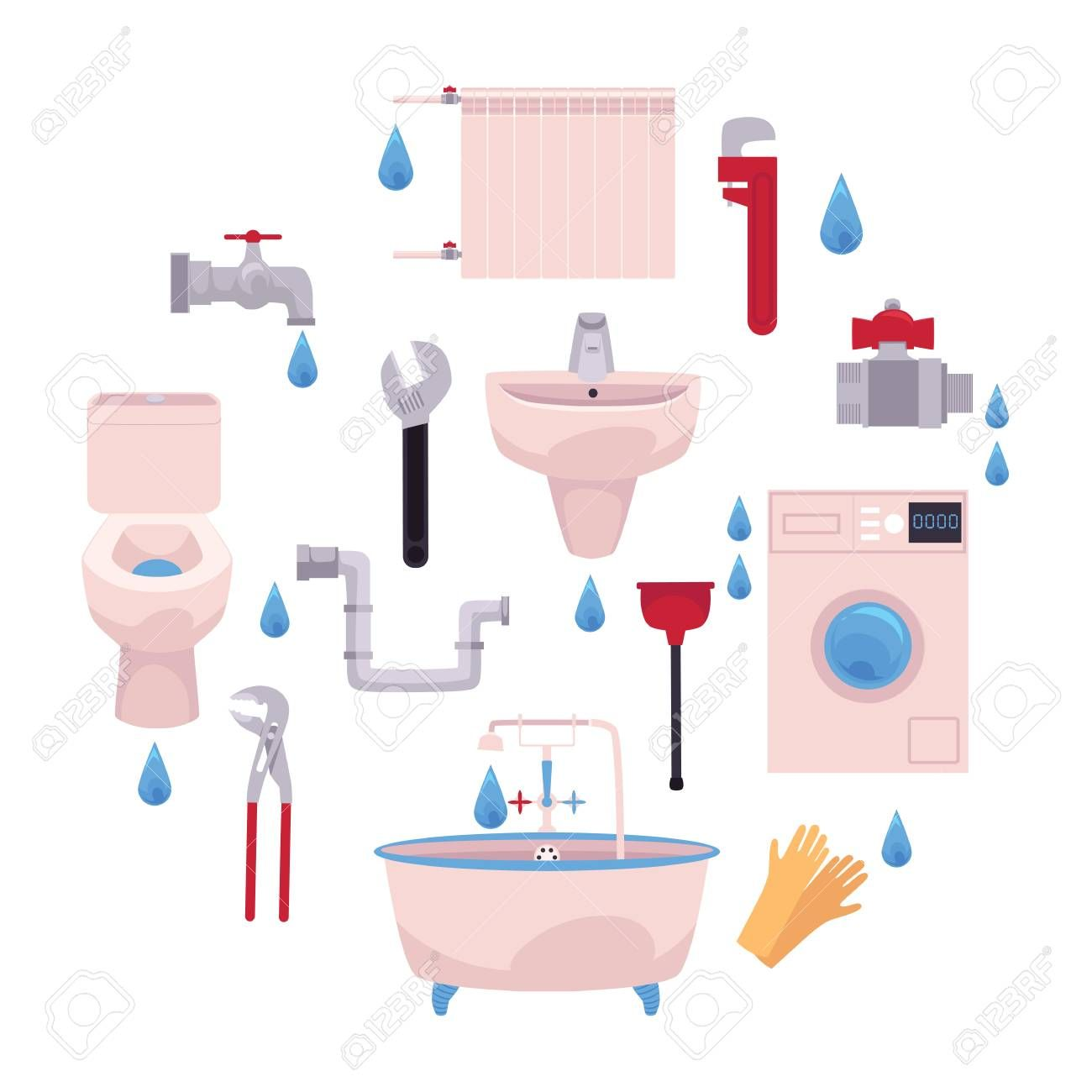 Vector Cartoon Flat Plumbing Tools Equipment Set Bath Tube Sink Washing Machine Toilet Bowl Gloves Adjus Bath Tube Plumbing Tools Water Valves