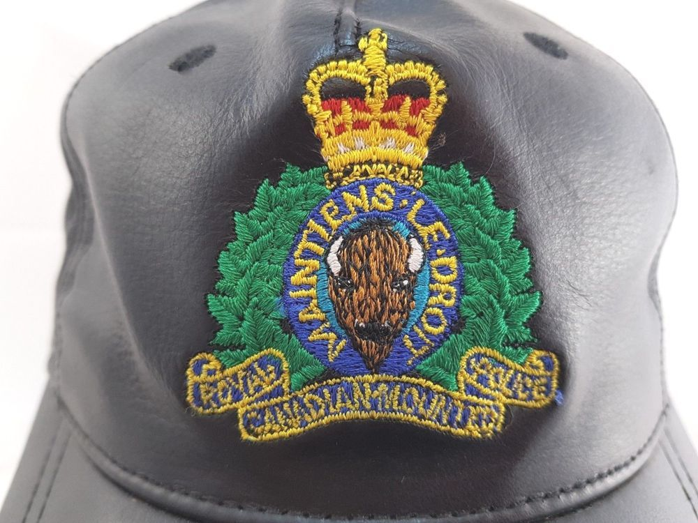 RCMP Leather Baseball Cap Hat Black Embroidered AJM International Police  RCMP 2546bc03e3d