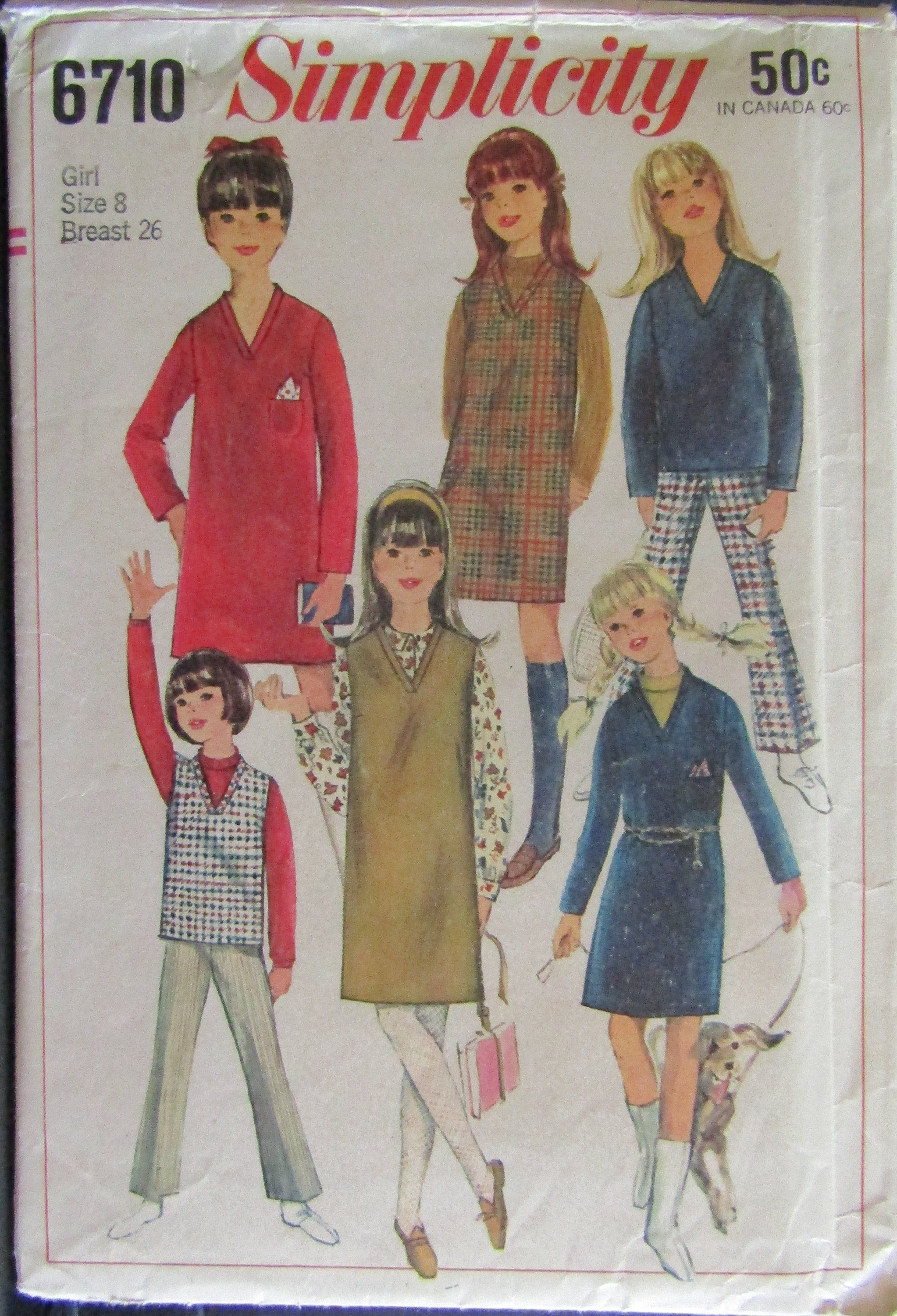 b39d7829cb Simplicity 6710 1960s Girls Dress or Jumper or Overblouse and Bell-Bottom  Pants Pattern Size 8 by SimpsonDesignsStudio on Etsy